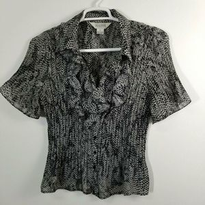 Women career pre-pleated Animal print shirt XL